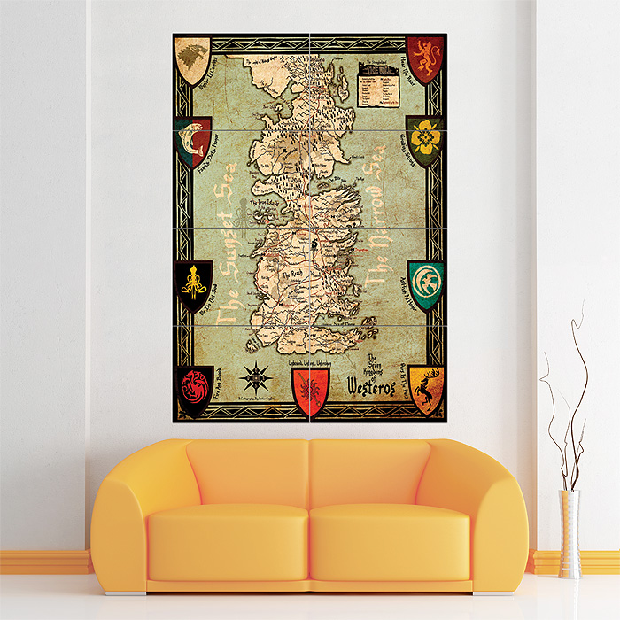 Game of thrones Map Seven Kingdoms of Westeros Giant Wall ... Game Of Thrones Map Poster on game.of thrones s3 poster, silicon valley map poster, red dead redemption map poster, dark souls map poster, walking dead map poster, grand theft auto v map poster, supernatural map poster, united states map poster, community map poster, life map poster, fallout new vegas map poster, gravity falls map poster, skyrim map poster, world of warcraft map poster, hobbit unexpected journey map poster,