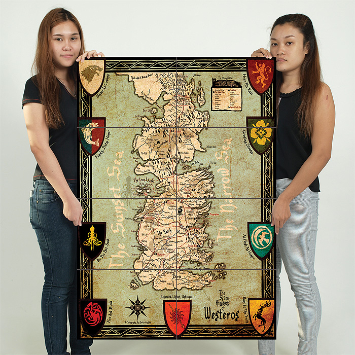 Game Of Thrones Map Seven Kingdoms Of Westeros Giant Wall