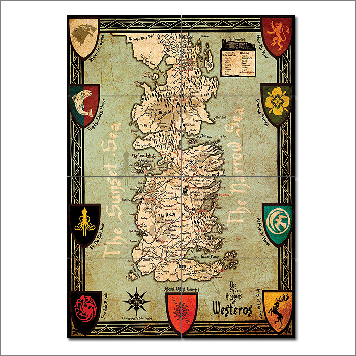 of thrones Map Seven Kingdoms of Westeros Giant Wall Art Poster