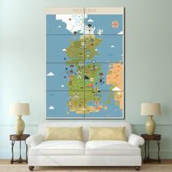 โปสเตอร์ ขนาดใหญ่ ภาพแผนที่ Game Of Thrones Westeros Map  (P-1497)