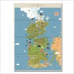 โปสเตอร์ ภาพแผนที่ Game Of Thrones Westeros Map
