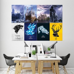 Game of Thrones Sigils Castles Block Giant Wall Art Poster (P-1499)