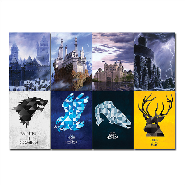 Game Of Thrones Sigils Castles Block Giant Wall Art Poster