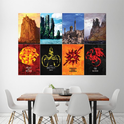 game of thrones sigils castles 1 block giant wall art poster