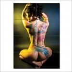 โปสเตอร์ ขนาดใหญ่ ภาพศิลปะ Sexy Tattoo Asian Girl