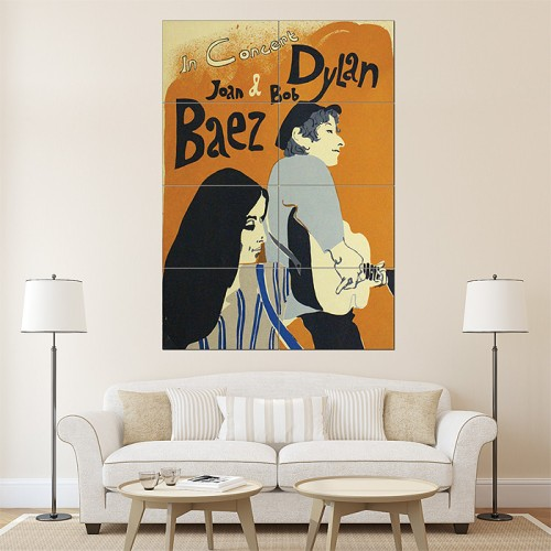 Bob Dylan and Joan Baez Concert Music Giant Art Poster