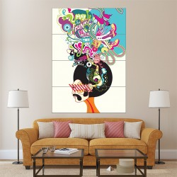 Retro Hippy 70s Funk Man Block Giant Wall Art Poster (P-1528)
