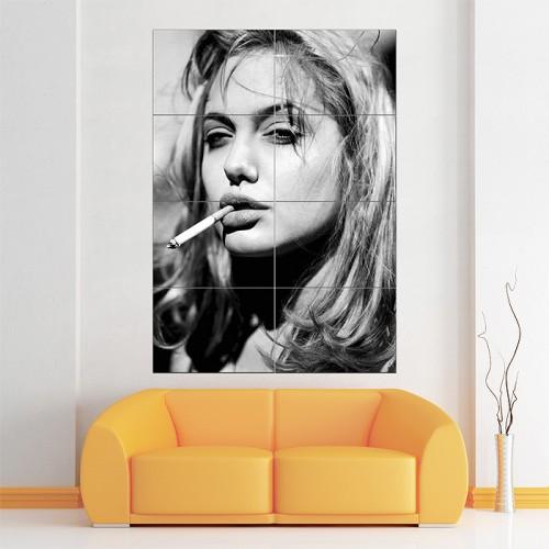โปสเตอร์ ขนาดใหญ่ ภาพ Angelina Jolie Blonde Smoking