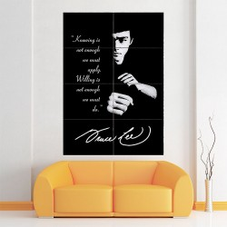 Bruce Lee Quote - Knowing is not enough Block Giant Wall Art Poster (P-1552)