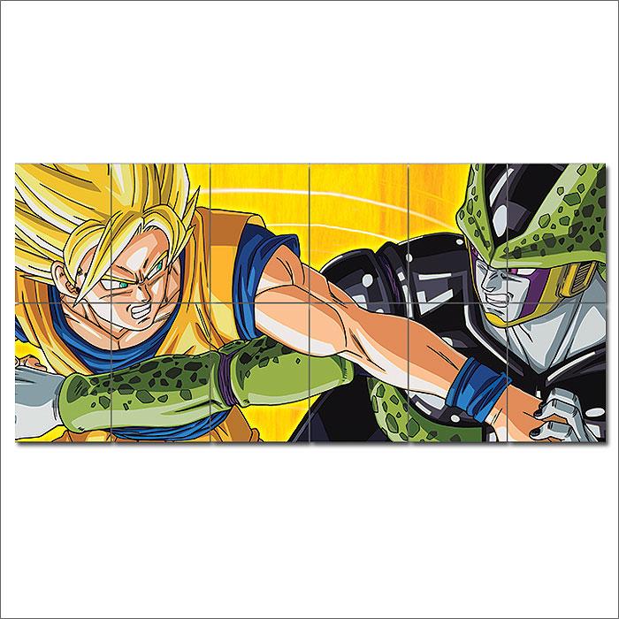 Dragon Ball Z Goku vs Cell Block Giant Wall Art Poster