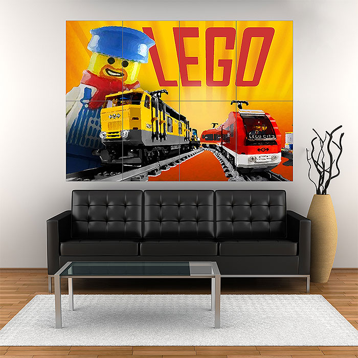 Lego Train Block Giant Wall Art Poster
