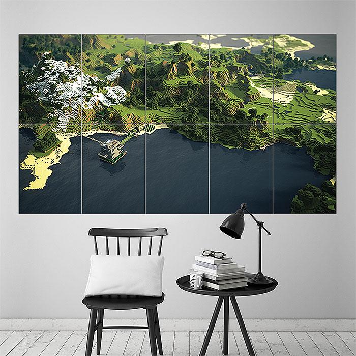 Minecraft Landscape Block Giant Wall Art Poster