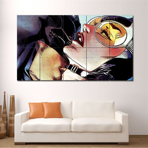 Batman kiss Catwoman Art Block Giant Wall Art Poster