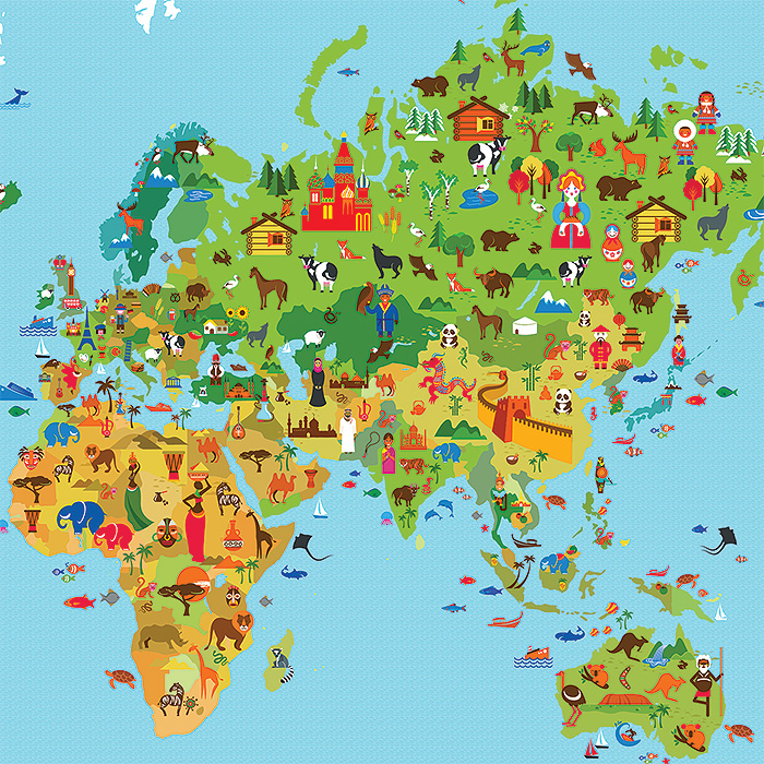 World map for kid block giant wall art poster gumiabroncs Gallery