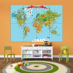 World Map for Kid Block Giant Wall Art Poster (P-1650)