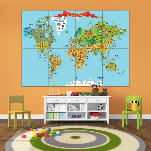 โปสเตอร์ ขนาดใหญ่ แผนที่โลกสำหรับเด็ก World Map for Kid