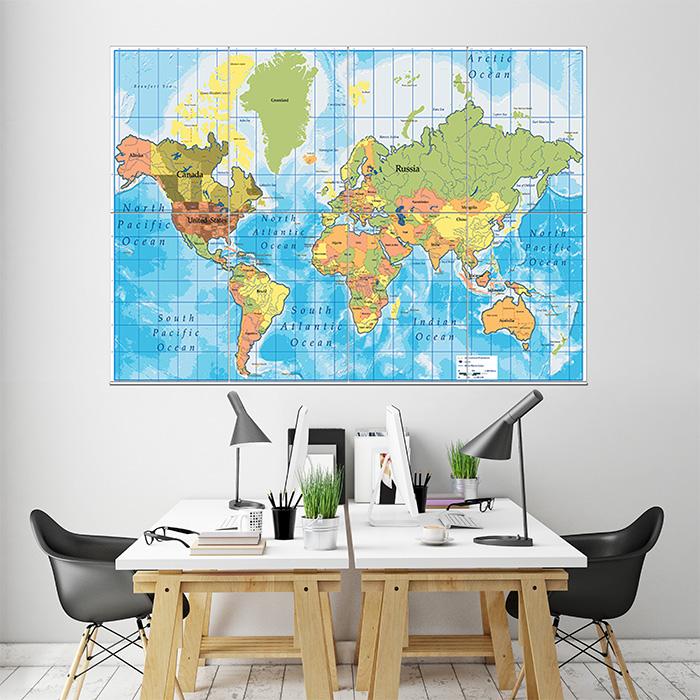 World Oceans Map Wand-Kunstdruck Riesenposter