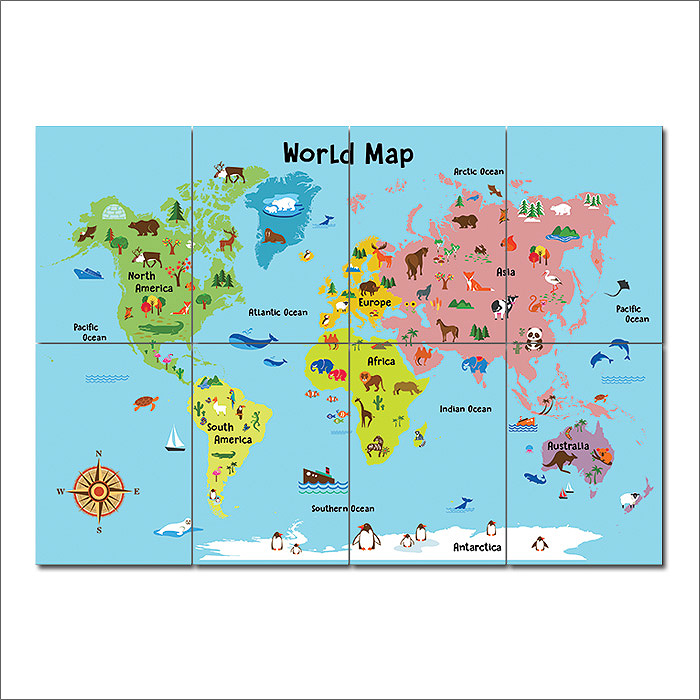 Animal world map for kids block giant wall art poster cartoon animal world map for kids block giant wall art poster sciox Gallery