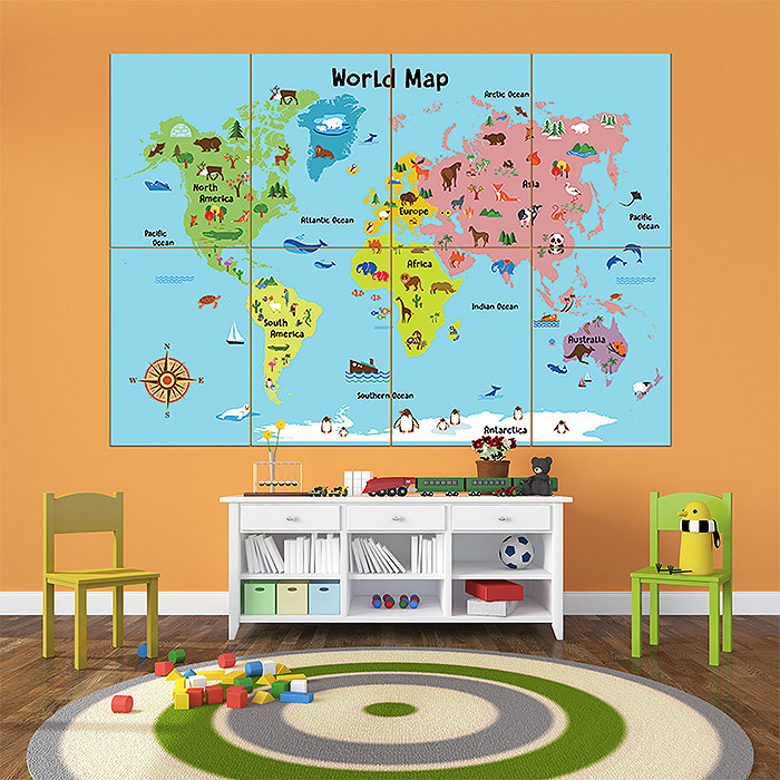 Cartoon animal world map for kids block giant wall art poster gumiabroncs Image collections