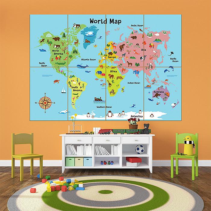 Animal world map for kids block giant wall art poster cartoon animal world map for kids block giant wall art poster gumiabroncs Images