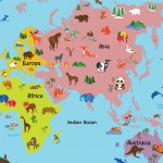 Cartoon Animal World Map For Kids Block Giant Wall Art Poster
