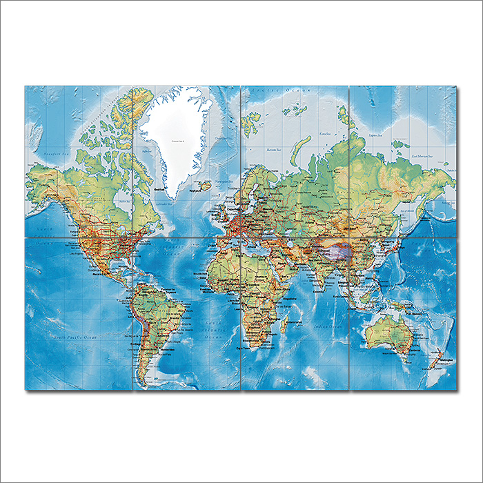 Map with countries block giant wall art poster world map with countries block giant wall art poster gumiabroncs Image collections