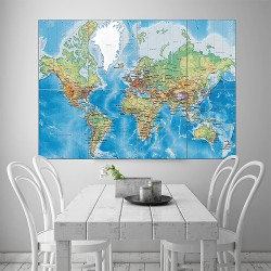 World Map with Countries Block Giant Wall Art Poster (P-1653)