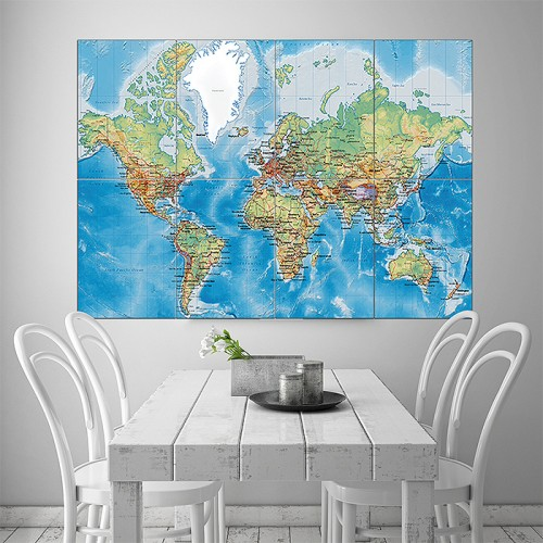 World Map with Countries Block Giant Wall Art Poster