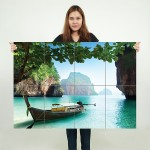 Boat on Small Island in Thailand Block Giant Wall Art Poster