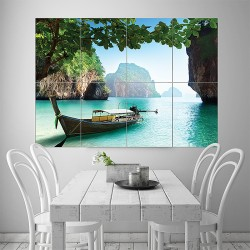 Boat on Small Island in Thailand Block Giant Wall Art Poster (P-1664)