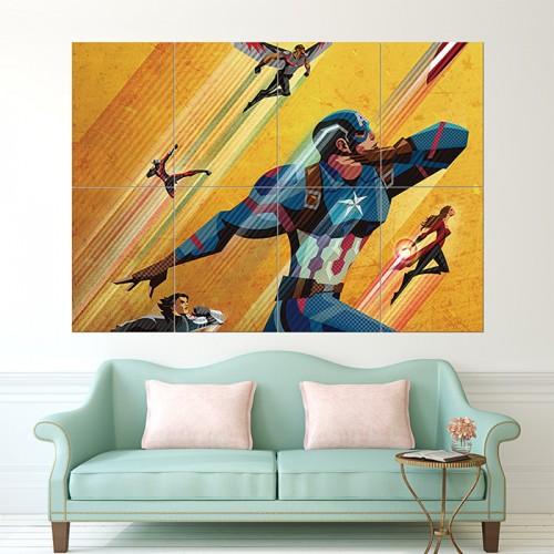 โปสเตอร์ ขนาดใหญ่ Civil War Artowork Captain America กัปตันอเมริกา