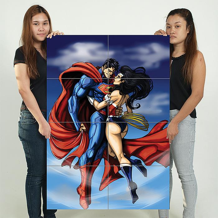 Superman and Wonder Woman Kiss Block Giant Wall Art Poster