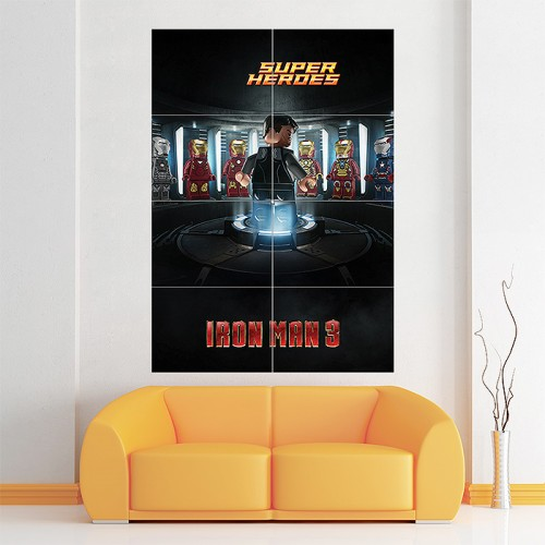 โปสเตอร์ ขนาดใหญ่ ภาพการ์ตูน ไอรอนแมน Lego Iron Man