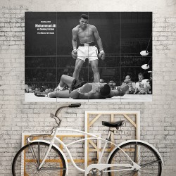 Muhammad Ali vs Sonny liston boxing Block Giant Wall Art Poster (P-1685)