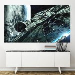 Star Wars Film Spaceships Millennium Falcon Block Giant Wall Art Poster