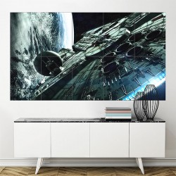 Star Wars Film Spaceships Millenium Falcon Block Giant Wall Art Poster (P-1695)