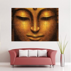 Face of Golden Buddha Block Giant Wall Art Poster (P-1699)