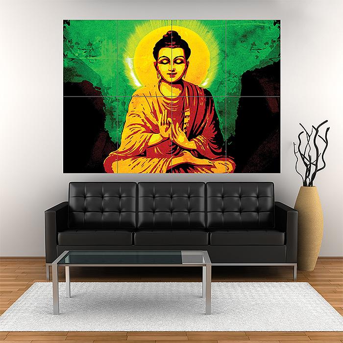 creative little buddha block giant wall art poster
