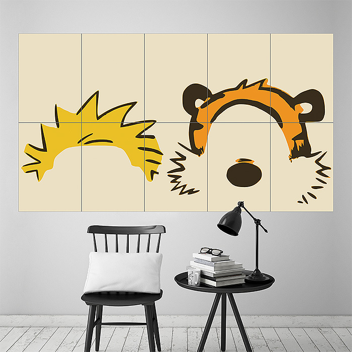 Calvin And Hobbes Face Block Giant Wall Art Poster