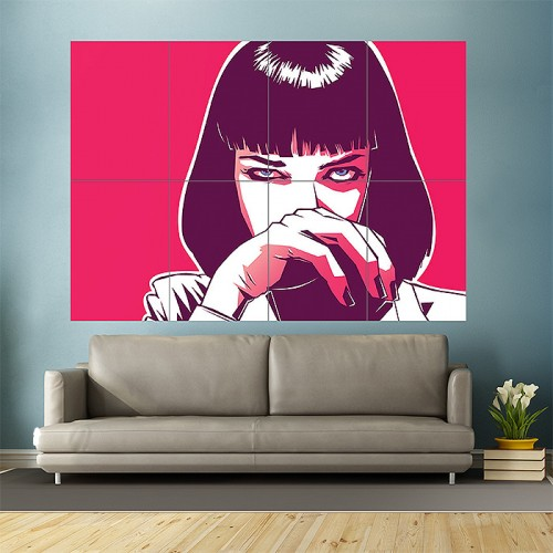 Pulp Fiction movie Mia Wallace art Block Giant Wall Art Poster