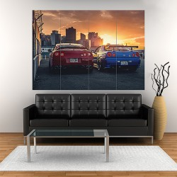 Nissan Skyline GTR R34 R35 Japan Cars Block Giant Wall Art Poster (P-1720)