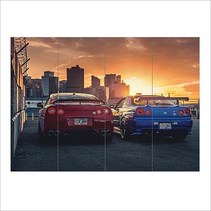 Nissan Skyline GTR R34 R35 Japan Cars Block Giant Wall Art ...