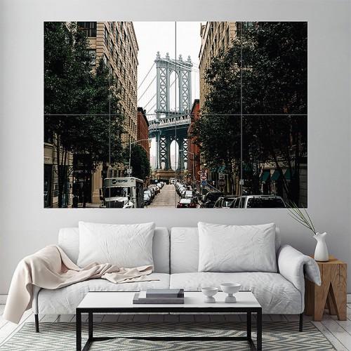 Brooklyn Bridge in New York Block Giant Wall Art Poster
