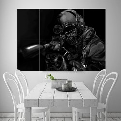 Call Of Duty Warrior Soldier Weapon Gun Block Giant Wall Art Poster (P-1772)