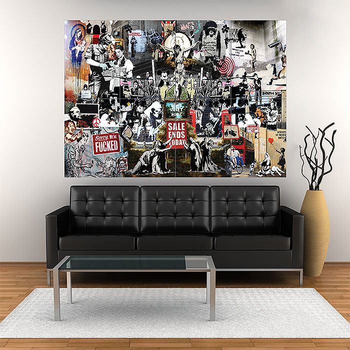 BANKSY POSTER GRAFFITI STREET ART COLLAGE WALL LARGE IMAGE GIANT
