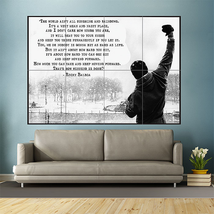 Rocky Balboa Inspirational Motivational Film Movie Quotes Block Giant Wall  Art Poster