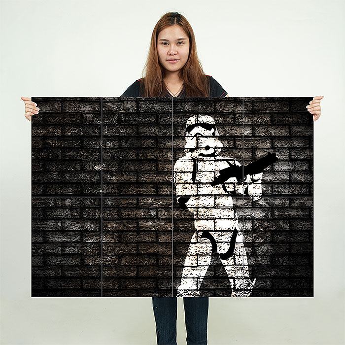 banksy star wars stormtrooper wand kunstdruck riesenposter. Black Bedroom Furniture Sets. Home Design Ideas