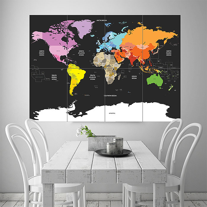 Political World Map Of The World Colored Block Giant Wall ...