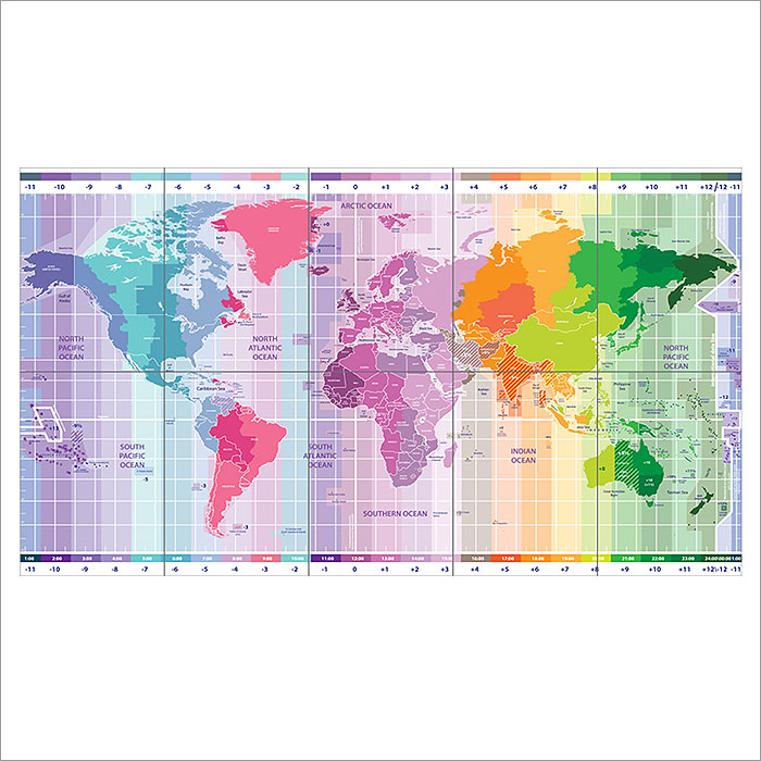 World Standard Time Zones Map Wand-Kunstdruck Riesenposter