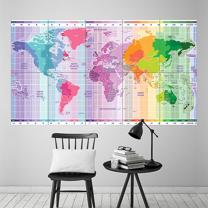 World maps posters at allposterscom large world map large standard time zones map block giant wall art poster giant vintage world map poster gumiabroncs Gallery